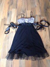 ladies size 3(8-10) snap black & grey cocktail dress with taffeta trim