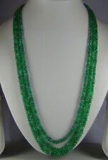 283cts NATURAL TRANSLUCENT EMERALD ZAMBIAN MULTI 3 STRAND FACETED BEAD NECKLACE