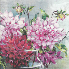 Lot de 2 Serviettes en papier Dalhia Fleurs Decoupage Collage Decopatch