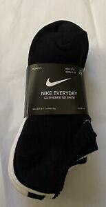 Brand New 6 Women's Nike Everyday Cotton Cushioned No Show Socks Sz 6-10 $20
