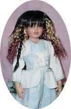 """Doll Wig 7/8"""" fits 16"""" Kish and others, Black Velvet, Synthic Mohair"""