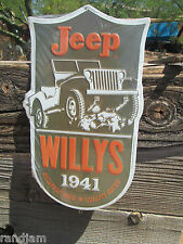 JEEP WILLYS ARMY 1941 RELIABLE 4WD QUALITY GOODS EMBOSSED METAL SIGN MAN CAVE