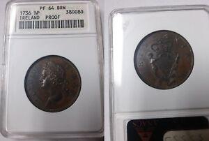 Very Rare 1736 Ireland 1/2 Penny- ANACS PF 64