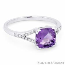 1.37 ct Cushion Cut Amethyst & Diamond 14k White Gold Engagement / Promise Ring