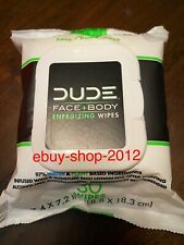 DUDE WIPES FACE + BODY ENERGIZING WIPES 30 Face Wipes NEW!🚨