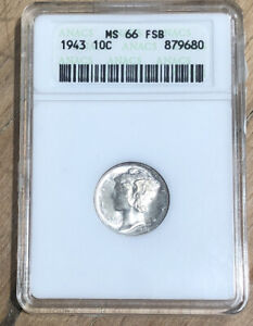 1943 Mercury Silver Dime 10C ~ Anacs  MS66 FB, Bright Coin