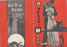 DIAL M FOR MURDER-A. HITCHCOCK/GRACE KELLY-ORIGINAL YUGOSLAV MOVIE PROGRAM 1954