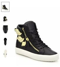 New Giuseppe Zanotti Women Black Leather High-top Golden Wing Sneakers Boots 8.5