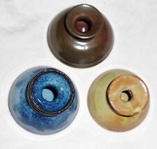 Handmade Pottery Inkwell with 2 Handcut Bamboo Dip Pens Calligraphy