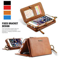 Multifunction Zipper Leather Wallet Card Purse Case Removable Cover Handy Hülle