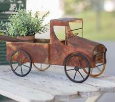 Rusty Metal Pickup Truck Planter Decorative Tabletop Display