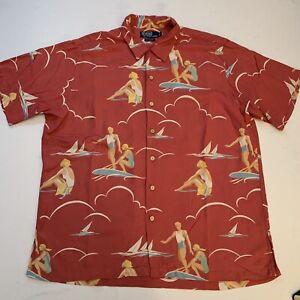 POLO RALPH LAUREN VINTAGE CAMP Men's Viscose Hawaiian Shirt Surfers Large EUC