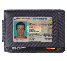 Mens Slim Minimalist Wallet Money Clip Leather Carbon Fiber Credit Card Holder