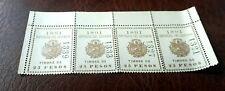 4x Steuermarken/Briefmarken El Salvator 25 Pesos v. 1891