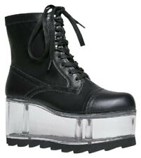 NEW YRU qloud Gi clear black combat boots women's shoes platforms in box sz 6