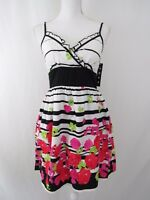 Snap Womens Dress Floral Striped Mini Sleeveless Black White Pink New Size 11