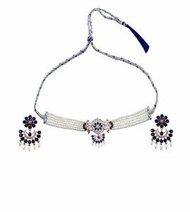 Handmade Pearl Rose Gold Plated CZ Sapphire Choker Women Brass Necklace Jewelry