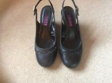 Jones black leather shoes sling back size 4 UK wedge heels in good condition