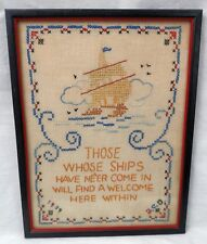 """Those Whose Ships Have Ne'er Come In Framed Finished Embroidery 9 3/4"""" x 12 5/8"""""""
