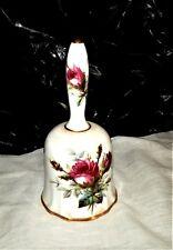 "Vintage Hammersley Bone China Roses Ringing Bell 5 1/4"" Tall Gold Trim H21 Nice"