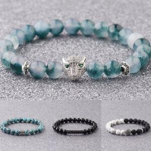 Fashion Women Men Micro Pave Fox Strip Beads Lava 8mm Natural Stone Bracelets