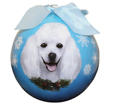 Poodle White Christmas Ornament Shatter Proof Blue Ball NEW