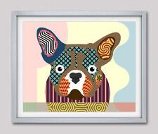 Print Art Dog French Bulldog Puppy Pet Vintage Original Giclée Modern Painting
