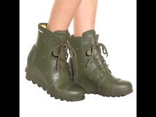 SOREL Women's Joan WATERPROOF Wedge Gloss Rain Boots Army Green Booties 10, 10.5