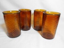 Hand Blown Glass Juice Tumblers Set 4 Amber 8 Ounce Contours Made In Mexico.