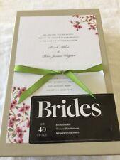 BRIDES 40 ct DIY Cherry Blossom Wedding Invitation Kit Ribbon Simple Elegant NEW