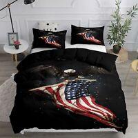 3D Bald Eagle USA Flag Duvet Cover Bedding Set Doona Quilt Cover Pillow Case