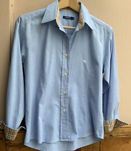 Women's Light Blue Cotton Shirt By Burberry Size M (10/12uk)
