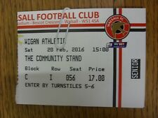 20/02/2016 Ticket: Walsall v Wigan Athletic. Any faults with this item have been