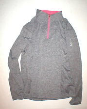 NWT Womens New 14 Spyder Top Long Sleeve Heather Black White Bright Pink Zip Che