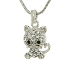 CAT MADE WITH SWAROVSKI CRYSTAL NEW PENDANT NECKLACE CHAIN JEWELRY