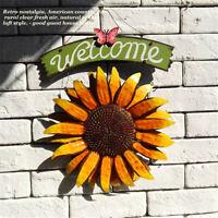 Iron Sunflower Welcome Sign Door Hanging For Indoor Outdoor Wall Art Home