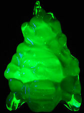 Green Vaseline glass Gothic skull head crossbones flames uranium fire hell glows