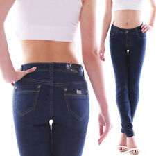 Indigo -/darkwashed Damen-Jeans mit mittlerer Bundhöhe Hosengröße 42