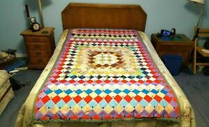 """Colorful Quilt 50 x 85"""" Patchwork Hand sewn Quilt Colorful, beautiful design"""