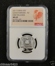 CHINA Silver Coin 3 Yuan 2017, 8g, Good Fortune - Fu, NGC MS 69