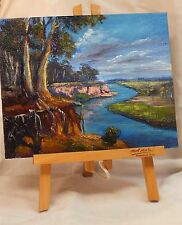 Original Australian Landscape painting gum trees by the river in acrylics