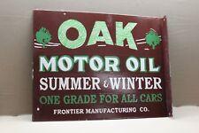 OAK MOTOR OIL RED INDIAN  2-SIDED FLANGE PORCELAIN SIGN GAS OIL CAR FARM