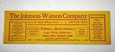 Vintage 1958 Desk Ink Blotter Advertising The Johnson-Watson Co. Dayton Ohio