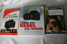 Lot of 3 Canon Eos Rebel Xs 1000D Digital Camera Books Guides Reference
