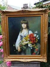 VINTAGE old PAINTING oil portrait THE FLOWER GIRL
