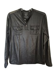 Guess Long Sleeve Fabian Shine Henley Pullover - Jet Black - Size M - NWT