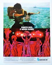 Vtg 1971 Puerto Rico showgirls travel tourism advertisement print ad art