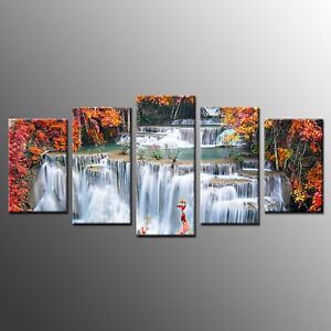 FRAMED Photo Canvas Print Waterfall in Trees Picture Wall Art Room Decor-5pcs
