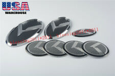 For KIA OPTIMA K5 3D K Logo carbon fibre Badge Emblem Gray 2011 2012 2014 7PCS