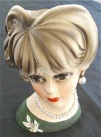 "VTG NAPCOWARE IMPORT JAPAN C7472 LADY HEAD VASE 6"" TALL"